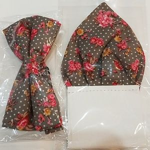 Other - NWT, Floral Print & Dots Bow Tie and Pocket Hankey
